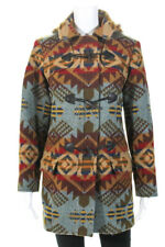 Pendleton Womens Full Zip Collared Hooded Printed Coat Brown Red Wool Size Small