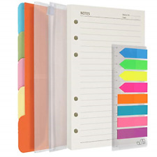 A5 Refill Paper 200 Lined Pages 5 Tabs Binder Divider 160 Pcs Index Tabs With
