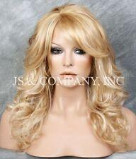 Golden Blonde mix  Big Curly Wavy Glamorous New Wig w Bangs BL 24-613