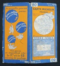 Carte MICHELIN n°80 RODEZ NIMES 1927 map Mapa Bibendum pneu guide