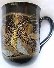 Otagiri Quail Coffee Cup Mug, Gold on Black