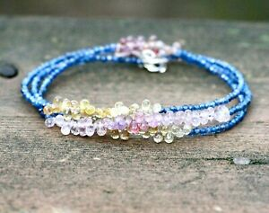 Natural Multi Colored Sapphire Wrap Bracelet Long Necklace Solid 14K White Gold