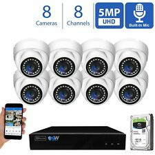 4K 8CH 16CH NVR 5MP Microphone Outdoor Indoor PoE IP Dome Security Camera System