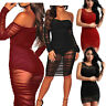Women Lace Bodycon Long Sleeve Evening Party Short Mini Dress Cocktail Clubwear