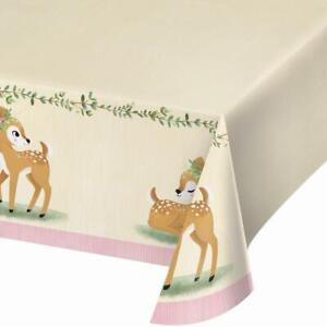 Pink Deer Little One Party Paper Table Cover Girls Birthday or Baby Shower