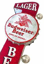 Large Red Budweiser Beer Metal Sign W/ LED Lights, Wall Decor Man Cave Bar