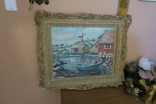 "Vintage Painting Oil Board 16"" x 19"" Signed Leo Taylor Peggy's Cove"" Nova Scotia"