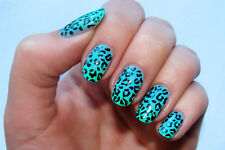 Blue Leopard Print A1013 Nail Art Stickers Transfers Decals Set of 22
