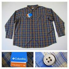 Columbia Omni Shade Sun Protection 30 Mens 4X Long Sleeve Blue Plaid Shirt New