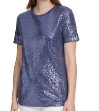 DKNY Women's Knit Top Blue Size Large L Sequin All Over Crew Tee $49 #829
