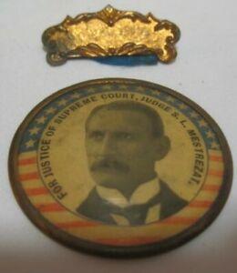 Old 1900 Supreme Court Judge S L Mestrezat Campaign Badge Uniontown PA Democrat
