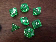 7 dice set Poly Multi sided Gemmed D4 D6 D8 D10 D12 D20 Gem Green Warhammer D&D
