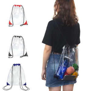 NEW Thick PVC Clear Transparent Shoes Bag Travel Storage Pouch Drawstring Bags