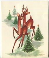 VINTAGE CHRISTMAS DEER DOE BUCK EVERGREEN TREES MID CENTURY GREETING ART CARD