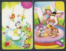#915.275 Blank Back Swap Card -MINT pair- Bunny rabbits in bold colours
