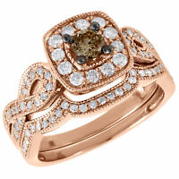 Brown Diamond Engagement Wedding Ring Rose Gold Solitaire Infinity Bridal Set