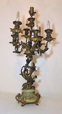 Huge antique ornate gilt bronze onyx Rococo 1800s electric candelabra table lamp