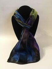 Hand Painted Silk Scarf Eggplant Purple Blue Olive Rectangle Neck Head Gift New
