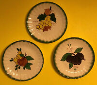 3 Blue Ridge Pottery Fruit Decorated 8.5 Inch Plates Southern Potteries USA