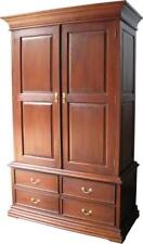 Solid Mahogany Sleigh Double Wardrobe 2 door 4 Drawers Wax Finish NEW ARM009