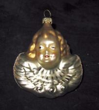 """Germany, Angel Head with Wings Christmas Ornament, 3 1/2"""""""
