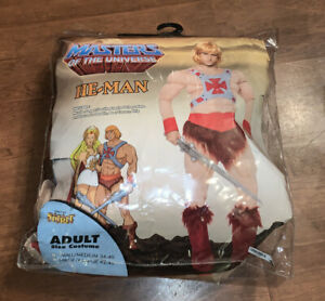ADULT COSTUME HE-MAN MASTERS OF THE UNIVERSE MUSCLE SUIT WIG BOOTS S/M COSPLAY