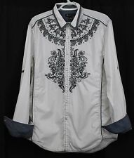 INC Black White Mens Lg Shirt Embroidered Grey Paisley Pearl Snap Western Cowboy