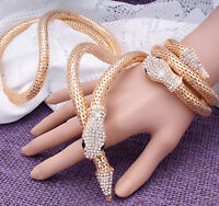 Women Fashion Gold Snake Rhinestone Crystal Bracelet Long Necklace Set For Women