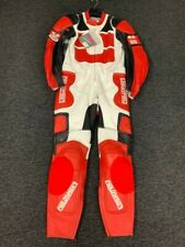 FIELDSHEER MENS ONE PIECE WHITE / RED / BLACK LEATHER MOTORCYCLE SUIT - UK 44