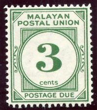 Malaya Postal Union 1952 KGVI Postage Due 3c deep green MNH. SG D16. Sc J22.