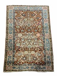 Wonderful Old Antique Handmade Turkish Silk Rug 5,11x4 Ft