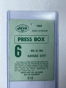 New York Jets 1969 Press Pass Shea Chiefs  SB Champs Namath Dawson Ultra Rare!