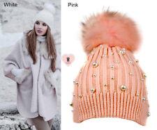 Alex Max unique designer pearls embellished Fur Pon Pon Hat -  Pink - Italy