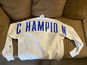 Champion Reverse Weave Crew large  white large letters  Sweater bnwt