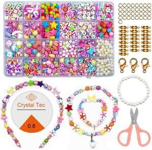 ZesNice Perlen zum Auffädeln Kinder Schmuck Schnurset, 24 Stile DIY Perlenset