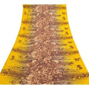 Sanskriti Vintage Yellow Sarees Indian Pure Silk Printed Sari 5 Yd Craft Fabric