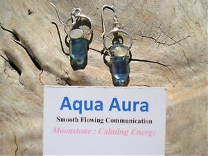 Aqua Aura Quartz DoubleTerminated 6 Sided Point +Moonstone Silver Earrings!