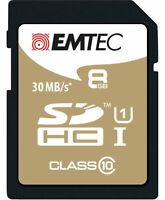 Emtec Memory SD Card 8GB Class 10 Read 30MB/s Write 11MB/s Laptop Phone Camera C
