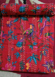 Handmade Boho Bedding Red Bird Print Kantha Quilt Bedspread Cotton Throw Blanket