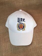 Vintage Logo Miller Lite Fine Pilsner Beer Embroidered White Adjustable Cap Hat