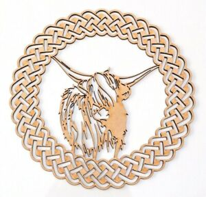 Wooden MDF Plaque Blank shape - Highland Cow in Celtic ornamental round frame
