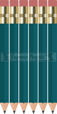 48 Teal Mini short Half golf Hexagon #2 pencils Eraser ExpressPencilsTM