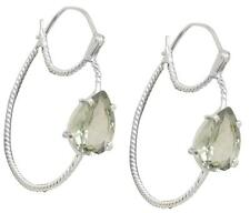 Natural Green Amethyst Earrings Solid 925 Sterling Silver Jewelry IE20893