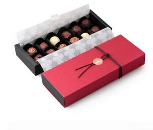 Red rectangle 12 cavities holes chocolate/sweet packaging special gift box x 5pc