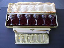 """KAGAMI CRYSTAL VINTAGE 1953 WITH LABEL """"NEVER USED. 6-SHOT,6-CHAMPAYNE.IN CASES"""