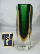 "Beautiful ""Sommerso"" Murano glass vase / Schöne Murano Glas Block Vase 542 Gr."