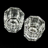 2 X CRYSTAL GLASS DAPPEN DISH CLEAR NAIL ART Craft Tools Arcylic Set