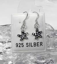 NEU 925 Silber OHRHÄNGER STERN schwarz STRASSSTEINE kristallklar OHRRINGE Strass