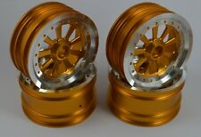 "Vintage 2.2""Aluminum Wheels 9 Spokes Gold For Team Associated RC10 World's Car"