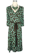 LEONA EDMISTON Frocks Dress - Vintage Style Wrap Giraffe Green Brown Belt - 1/10